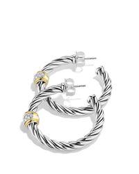 David Yurman - Metallic Metro Hoop Earrings With Diamonds - Lyst