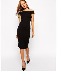 ASOS - Black Bardot Bodycon Midi Dress - Lyst