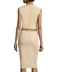 Ralph Lauren Collection - Natural Sleeveless Jewel-neck Sheath Dress - Lyst