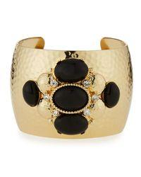 R.j. Graziano - Black Crystal & Cabochon Cuff Bracelet - Lyst