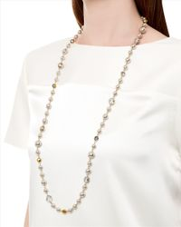 Jaeger - Brown Pearl And Crystal Mix Necklace - Lyst