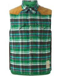 DSquared² - Green Checked Gilet for Men - Lyst