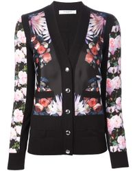 Givenchy | Black Floral Print Cardigan | Lyst