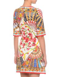 Dolce & Gabbana - White Fan Brocade A-Line Dress - Lyst