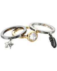COACH | Metallic Pave Multi Charm Stackable Ring Set | Lyst