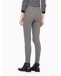 Mango | Gray Stripe Textured Leggings | Lyst