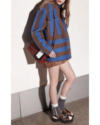 N°21 - Cleo Stripe Jacket In Sky Blue - Lyst