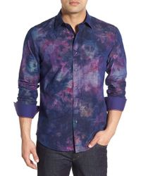 Bugatchi - Purple Classic Fit Shadow Flower Print Sport Shirt for Men - Lyst