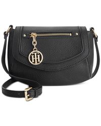 Tommy Hilfiger | Black Jerry Pebble Leather Crossbody | Lyst