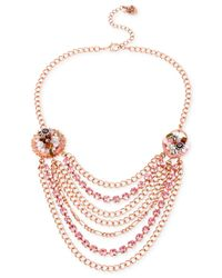 Betsey Johnson | Pink Rose Gold-Tone Woven Charm Multi-Chain Necklace | Lyst
