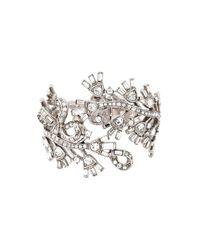 Oscar de la Renta - Metallic Floral Embellished Bracelet - Lyst