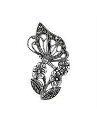 Aeravida | Metallic Morning Butterfly Flower Marcasite Sterling Silver Slide Pendant | Lyst