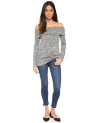 Splendid - Gray Mouline Off The Shoulder Top - Lyst