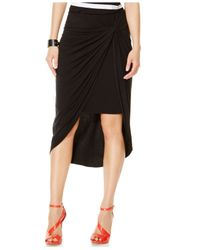 INC International Concepts | Black Draped High-low Pencil Skirt | Lyst