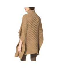 Michael Kors - Brown Aran-knit Alpaca-blend Poncho - Lyst