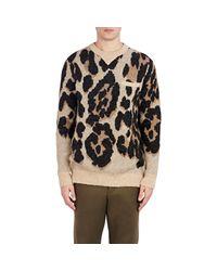 Sacai - Black Leopard Jacquard Sweater for Men - Lyst