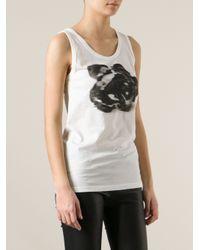 Ann Demeulemeester - White Rose Print Tank Top - Lyst