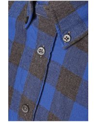 BOSS Orange | Blue 'esecrete' | Slim Fit, Cotton Plaid Button Down Shirt for Men | Lyst