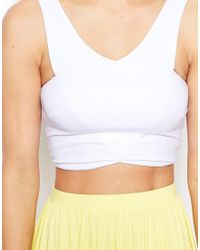 ASOS - Red Cropped Top With Wrap Front - Lyst