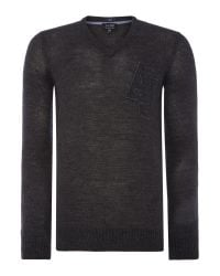 Armani Jeans | Gray V Neck Monogram Aj Logo Jumper for Men | Lyst