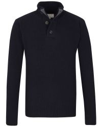 Racing Green - Blue Half Button Neck Knit for Men - Lyst