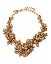 Oscar de la Renta | Metallic Carved Golden Rose Necklace | Lyst
