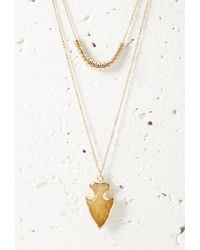 Forever 21 - Metallic Faux Arrowhead Layered Necklace - Lyst