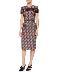Oscar de la Renta   Red Short-sleeve Check Tweed Sheath Dress   Lyst
