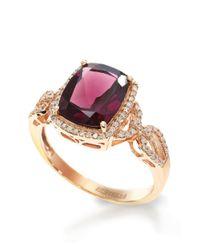 Effy | Purple Bordeaux 14k Rose Gold Rhodolite And Diamond Ring | Lyst