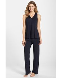 Midnight By Carole Hochman | Blue Charmeuse Trim Jersey Pajamas | Lyst