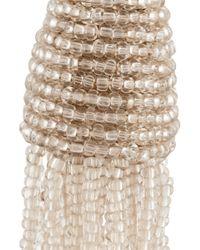 Oscar de la Renta - White Beaded Tassel Clip Earrings - Lyst