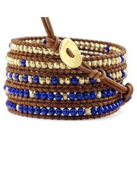 Chan Luu | Blue Lapis and Gold Wrap Bracelet On Natural Brown Leather | Lyst