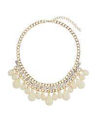 Mikey | White Hanging Stones with Crystal Chain Choker | Lyst