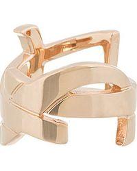 Saint Laurent - Metallic Rose Gold Ysl Monogram Ring - Lyst