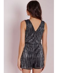 Missguided - Metallic Pleat Playsuit Silver - Lyst