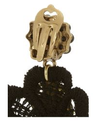 Dolce & Gabbana Black Va Goldplated Resin and Macramé Lace Clip Earrings