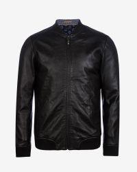 Ted Baker | Black Leather Bomber Jacket for Men | Lyst