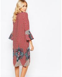 Love | Green Midi Dress With Bell Sleeves In Placement Print | Lyst