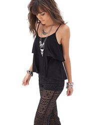Forever 21 - Black Flounced Knit Cami - Lyst