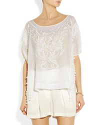 Emilio Pucci | White Embroidered Cotton and Silk Blend Voile Top | Lyst