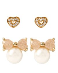 Betsey Johnson - White Heart And Faux Pearl Stud Set - Lyst
