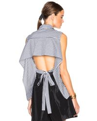 TOME | Black Fwrd Exclusive Striped Poplin Tie Back Top | Lyst