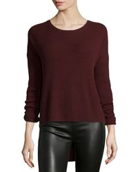 Vince - Red Ribbed Crewneck Sweater - Lyst