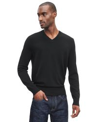 Banana Republic | Black Extra-fine Merino Wool Vee Sweater Pullover for Men | Lyst