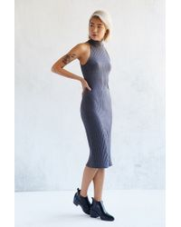 Silence + Noise | Gray Ribbed Mock-neck Bodycon Dress | Lyst