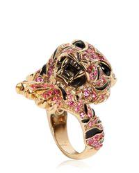 Roberto Cavalli | Metallic Pink Swarovski Tigre Ring | Lyst