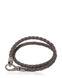 "Tod's | Gray ""My Colors"" Braided Leather Bracelet for Men 
