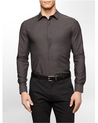 Calvin Klein | Black White Label Classic Fit Chambray Subtle Stripe Liquid Cotton Shirt for Men | Lyst