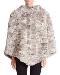 Glamourpuss - Gray Rabbit Fur Poncho - Lyst