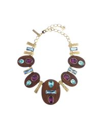 Oscar de la Renta - Blue Capri & Magenta Wooden Crystal Necklace - Lyst